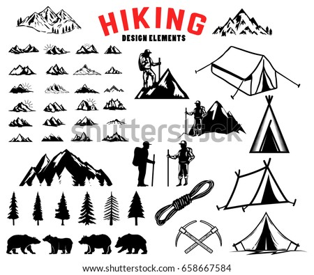 Set of hiking outdoor mountains design elements. Bears trees mountains  sc 1 st  Shutterstock & Set Hiking Outdoor Mountains Design Elements Stock Vector ...