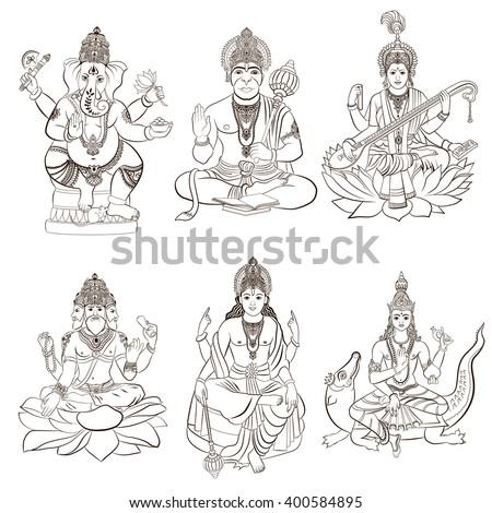 Set of Hindu gods and godness. Ganesha, Hanuman, Saraswati, Brahma, Vishnu, Varuna. Vector illustration. - stock vector