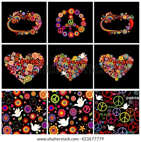 Set of hippie seamless wallpapers, frames, heart shapes and peace symbol - stock vector