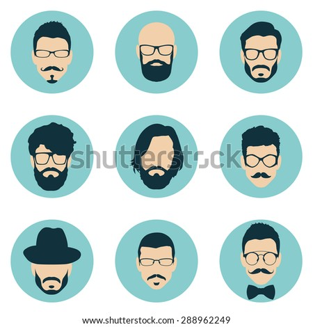 set of hipster avatars for social media or web site. man face icons. vector illustration - stock vector