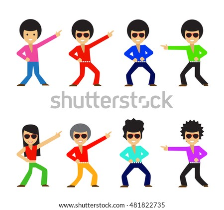 Set of Hipster dancer in flat style