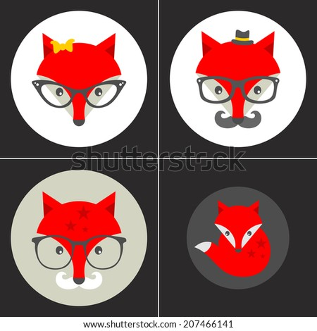 Set of hipster emblems with cute fox. Vector illustration. - stock vector