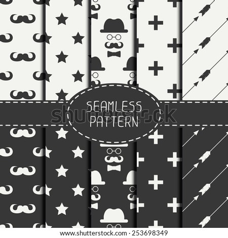 Set of hipster fashion geometri seamless pattern with mustache. Collection of paper for scrapbook. Vector background. Tiling. Stylish graphic texture for your design, wallpaper, pattern fills. - stock vector
