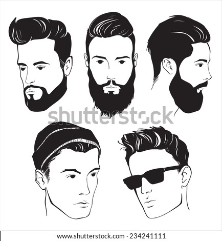 set of hipster fashion man with beard, mustache and Sunglasses - stock vector