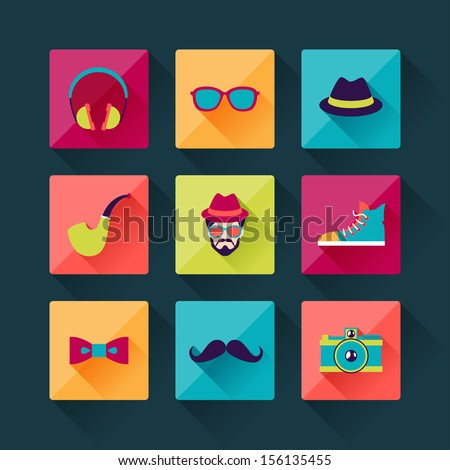 Set of hipster icons in flat design style. - stock vector
