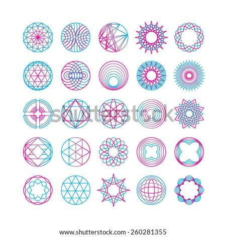 Set of hipster line round emblems. Vector illustration. - stock vector
