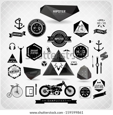 Set of hipster modern black label and icon/ vector set - stock vector