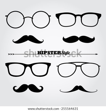 set of hipster style glasses - stock vector