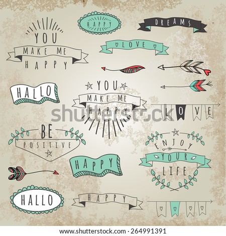 Set of hipster style words and phrases. Word collage - stock vector