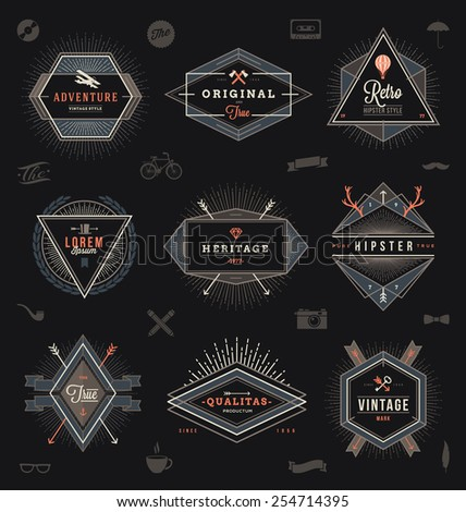 Set of hipster trendy emblems, labels and sign - vector illustration - stock vector