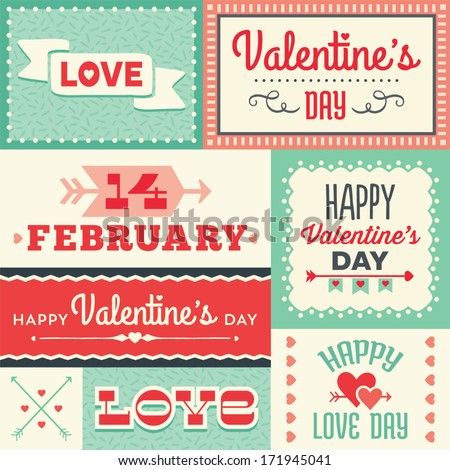 Set of hipster Valentine's Day typographic tags and labels in red and green with hearts and arrows. For greeting card, poster, menu, party invitation, social media, web banners, gift wrapping paper. - stock vector