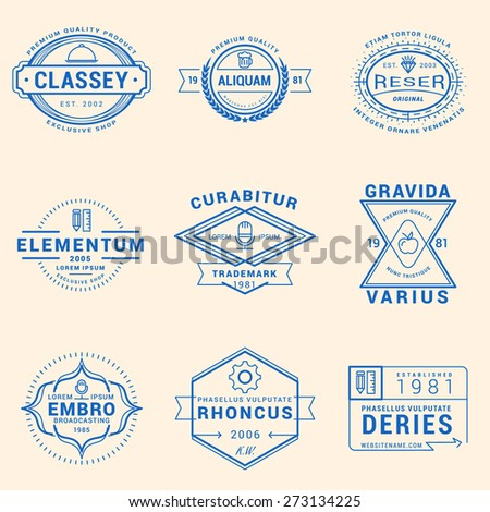 Set of Hipster Vintage Labels, Logotypes, Badges for Your Business - stock vector