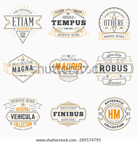 Set of Hipster Vintage Labels, Logotypes, Badges. Thin Line Design Templates - stock vector