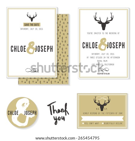 Set of Hipster wedding invitation card, save the date card, RSVP card and candy sticker label with deer head and ampersand. - stock vector