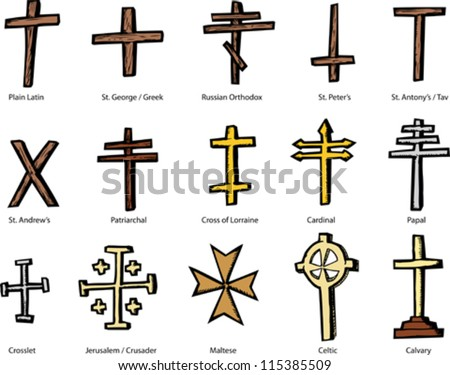 Set of historically accurate crosses representing various Christian churches