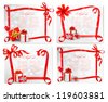 Set of holiday backgrounds with red gift bow with gift boxes. Vector illustration. - stock vector