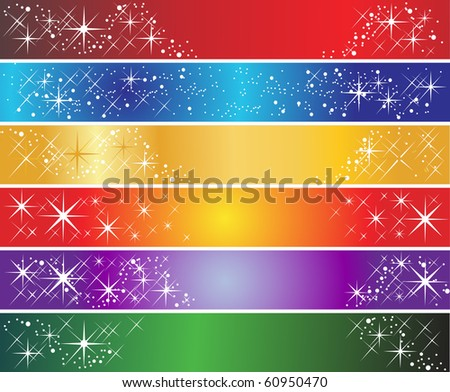Set of 6 holiday banners - stock vector