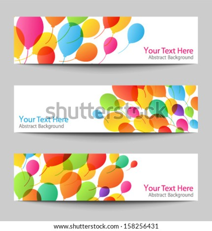 Set of holiday banners with colorful balloons, vector illustration - stock vector