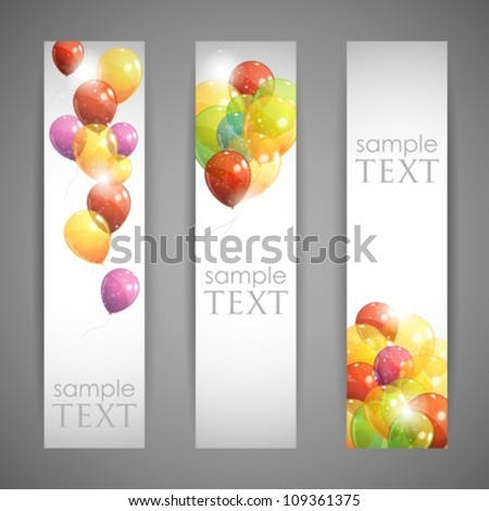 set of holiday banners with multicolored balloons - stock vector