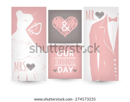 Set of holiday cards. Wedding invitations. - stock vector