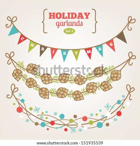 Set of holiday garlands - Christmas - stock vector