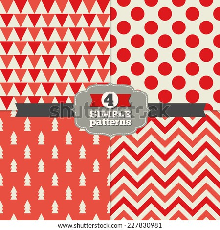 Set of Holiday Geometric Patterns with Triangles, Trees, Jumbo Polka Dot and Chevron in Dark Red, Red and Beige. Perfect for wallpapers, pattern fills, web page backgrounds, surface textures, textile  - stock vector