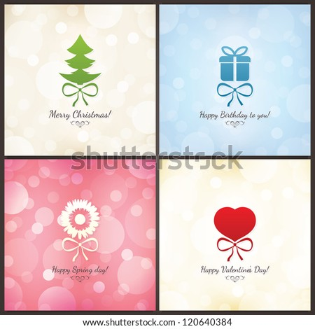 Set Holiday Greeting Cards Christmas Birthday Vector – Christmas Birthday Card