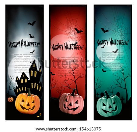 Set of holiday Halloween banners. Vector  - stock vector