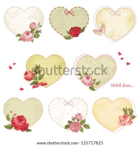 Set of holiday hearts with roses and butterfly - stock vector