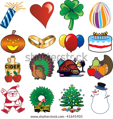 Set of 16 Holiday Icons - stock vector