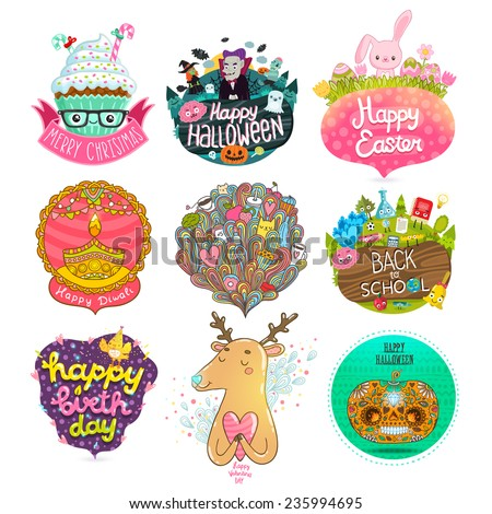 Set of holiday illustrations - Merry Christmas, Happy Halloween, Happy Easter, Happy Diwali, Happy Birthday, Happy Valentine's day. Back to school character. Doodle hand drawn dream bubble with cats. - stock vector