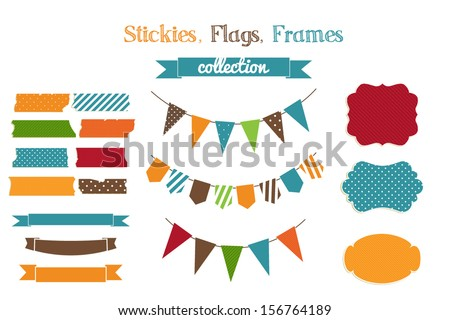 Set of holiday scrap-booking cute childish bright stickies,flags and frames - stock vector