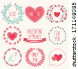 Set of holiday symbols - wreathes, hearts. Perfect for wedding and Valentine's Day  - stock vector