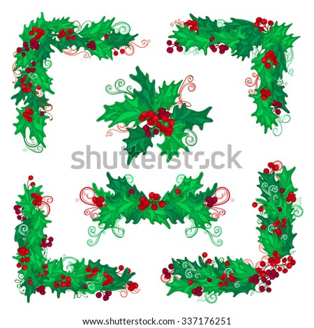 Set of holly berries page decorations and dividers. Christmas vintage design elements isolated on white background. Can be used for your Christmas invitations or congratulations. - stock vector