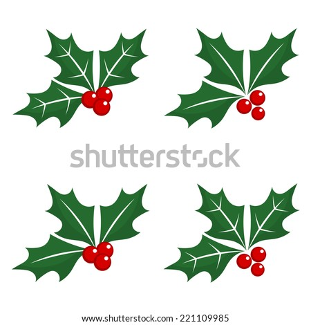 Set of holly berry Christmas symbols. Vector illustration - stock vector