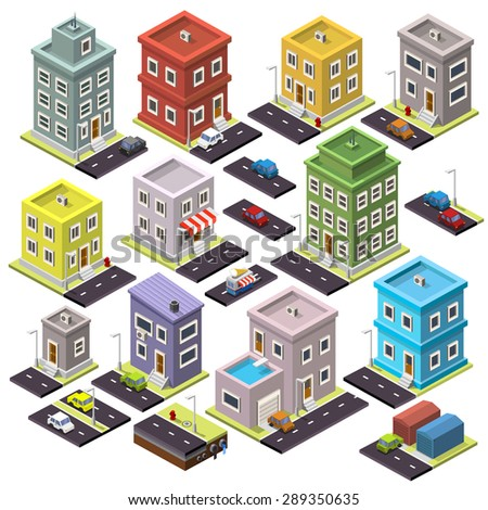 Set of home and road with cars isometric, cityscape apartment set icon, House icon color, Road map apartment, Vector Illustration