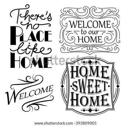 Set of home and welcoming quote designs