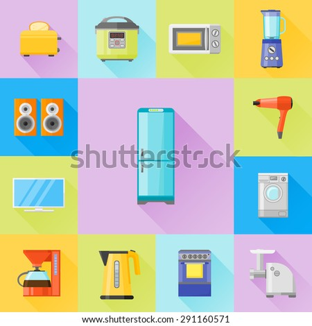 Set of home appliances flat icons. Coffee maker, kettle, multicooker, microwave oven, refrigerator, stove, meat grinder, monitot, blender, toaster, speakers, washing machine and hairdryer. - stock vector
