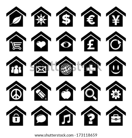 Set of home icon concepts with various symbols - stock vector