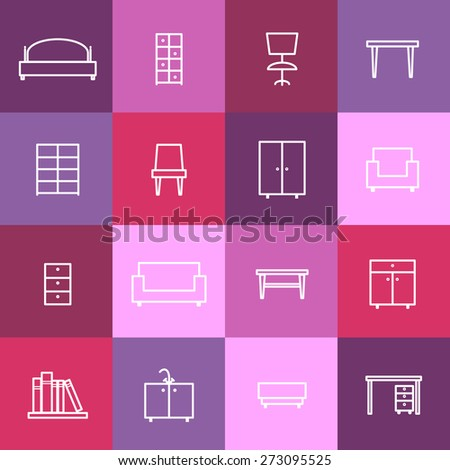 Set of home interior icons. Chair and furniture, sofa and room, bed and desk, vector illustration - stock vector