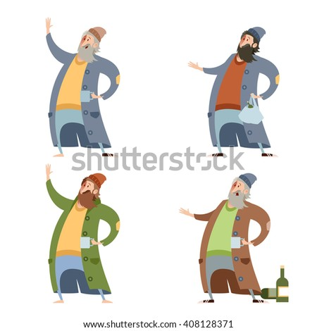 Set of homeless people - stock vector