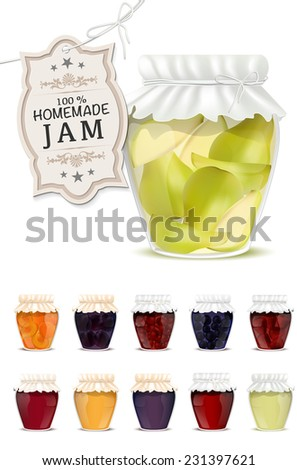 Set of homemade jam in jars - isolated on white background. Vector illustration. - stock vector