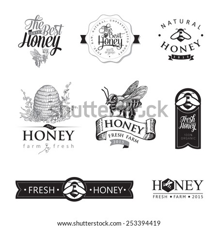 Set of honey and bee labels, graphic for honey logo products. Vector - stock vector