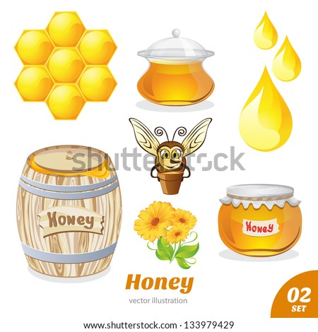 Set of honey, honeycomb, bee, a barrel of honey - stock vector