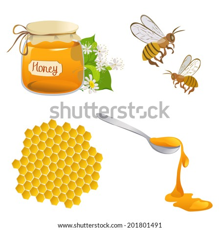 set of honeyed symbols. vector illustration - stock vector