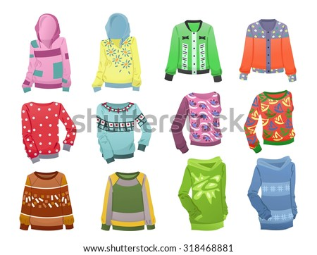 Set of hoodies for girls isolated on white background