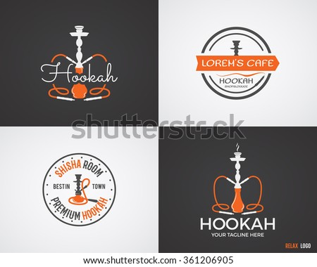 Set of Hookah relax labels, badges and design elements in 2 color variations. Vintage shisha logo. Lounge cafe emblem.  Arabian bar or house, shop insignia. Isolated vector illustration. - stock vector