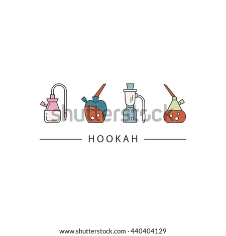 Set of hookah vector icons isolated on white background. - stock vector