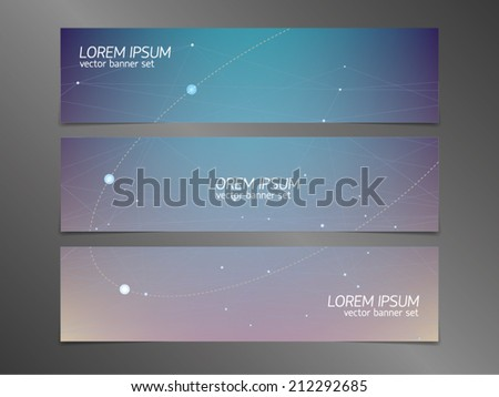 Set of horizontal abstract vector banners with moonlight, polygonal surfaces with semi-transparent connecting lines, star dots, constellations, elliptical orbit, and early sunrise effect (dawn).  - stock vector