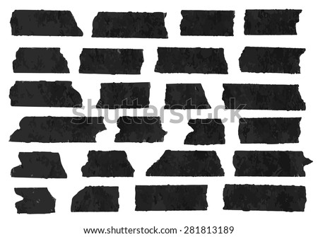 Set of horizontal and different size black sticky tape,adhesive pieces, torn paper on white background.  Can write text, alphabet letters and other symbols. Vector illustration - stock vector